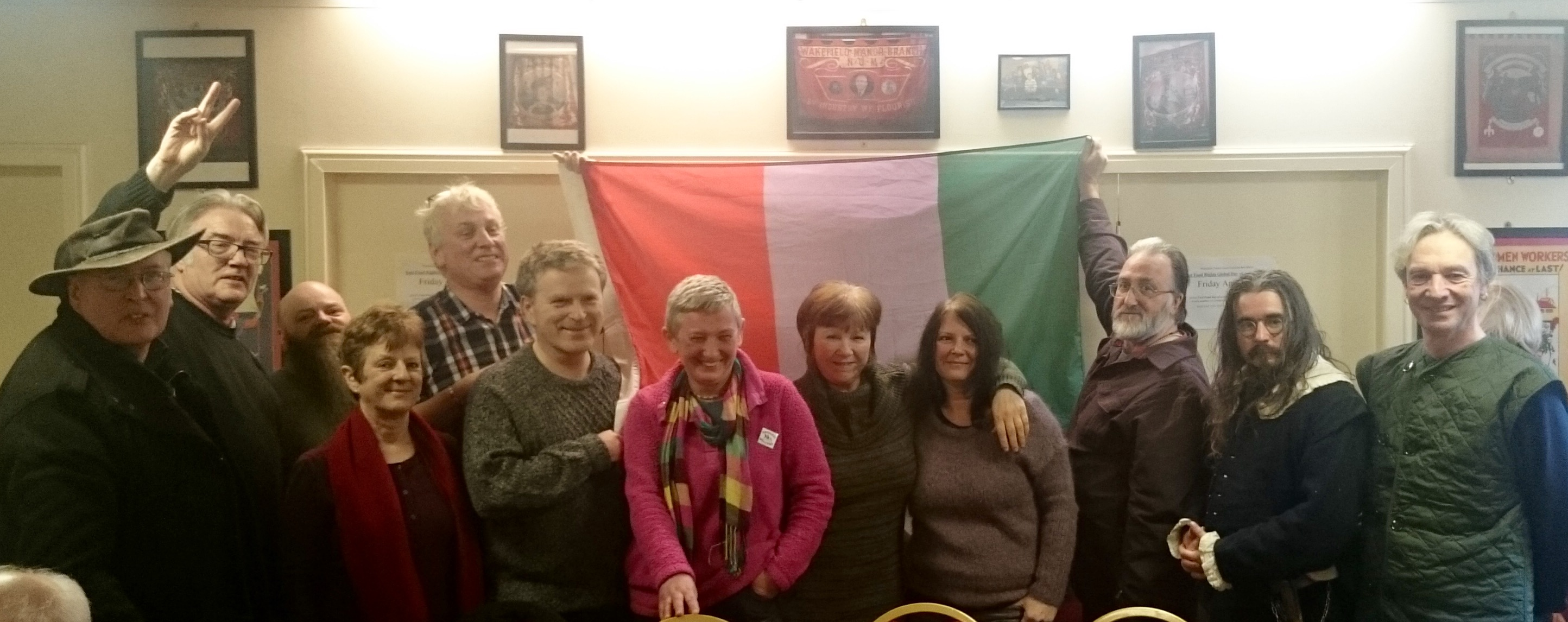 Levellers and Diggers meeting with over 40 people discussing England's democratic revolution, and here are a few rebels with the people's flag